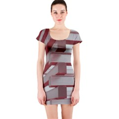 Red Sunglasses Art Abstract Short Sleeve Bodycon Dress