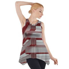Red Sunglasses Art Abstract Side Drop Tank Tunic