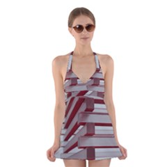 Red Sunglasses Art Abstract Halter Swimsuit Dress