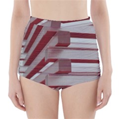Red Sunglasses Art Abstract High Waisted Bikini Bottoms