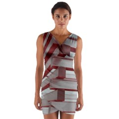 Red Sunglasses Art Abstract Wrap Front Bodycon Dress