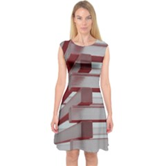 Red Sunglasses Art Abstract Capsleeve Midi Dress