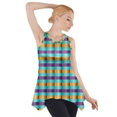 Pattern Grid Squares Texture Side Drop Tank Tunic