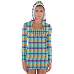 Pattern Grid Squares Texture Women s Long Sleeve Hooded T-shirt