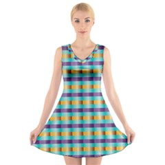 Pattern Grid Squares Texture V Neck Sleeveless Skater Dress