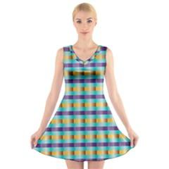 Pattern Grid Squares Texture V-Neck Sleeveless Skater Dress