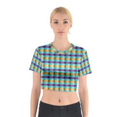 Pattern Grid Squares Texture Cotton Crop Top