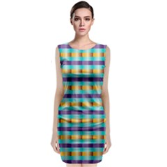 Pattern Grid Squares Texture Classic Sleeveless Midi Dress