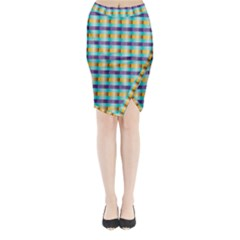 Pattern Grid Squares Texture Midi Wrap Pencil Skirt