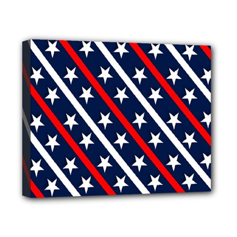 Patriotic Red White Blue Stars Canvas 10  x 8