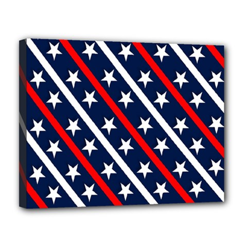 Patriotic Red White Blue Stars Canvas 14  x 11