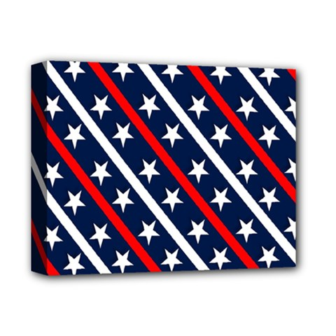 Patriotic Red White Blue Stars Deluxe Canvas 14  x 11