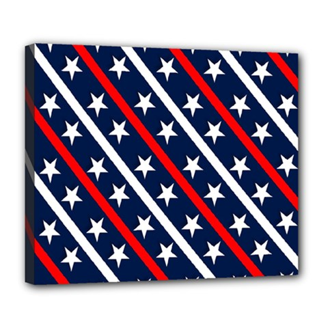 Patriotic Red White Blue Stars Deluxe Canvas 24  x 20