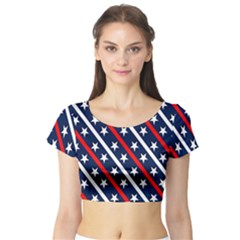 Patriotic Red White Blue Stars Short Sleeve Crop Top (tight Fit)