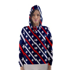 Patriotic Red White Blue Stars Hooded Wind Breaker (Women)