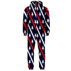 Patriotic Red White Blue Stars Hooded Jumpsuit (Men)