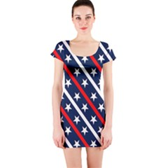 Patriotic Red White Blue Stars Short Sleeve Bodycon Dress
