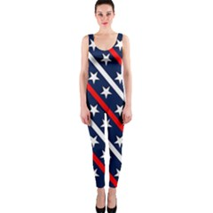 Patriotic Red White Blue Stars OnePiece Catsuit