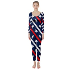 Patriotic Red White Blue Stars Long Sleeve Catsuit