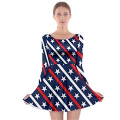 Patriotic Red White Blue Stars Long Sleeve Skater Dress