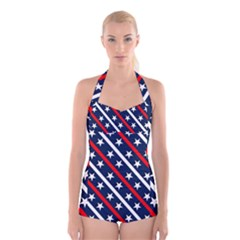 Patriotic Red White Blue Stars Boyleg Halter Swimsuit