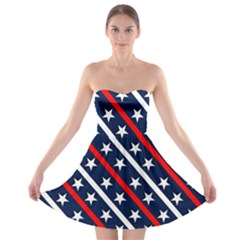Patriotic Red White Blue Stars Strapless Bra Top Dress
