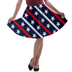 Patriotic Red White Blue Stars A Line Skater Skirt