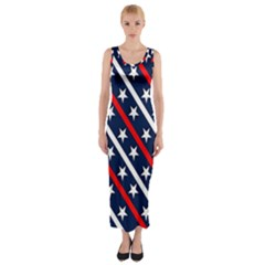 Patriotic Red White Blue Stars Fitted Maxi Dress