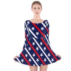 Patriotic Red White Blue Stars Long Sleeve Velvet Skater Dress