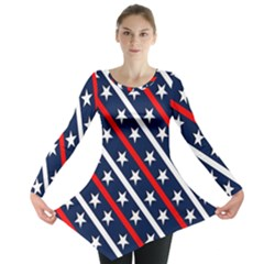 Patriotic Red White Blue Stars Long Sleeve Tunic