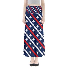 Patriotic Red White Blue Stars Maxi Skirts