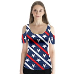 Patriotic Red White Blue Stars Butterfly Sleeve Cutout Tee