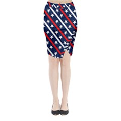 Patriotic Red White Blue Stars Midi Wrap Pencil Skirt