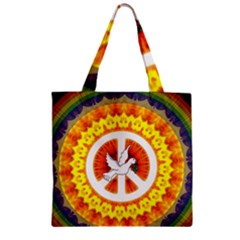 Peace Art Artwork Love Dove Zipper Grocery Tote Bag