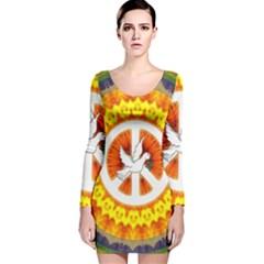 Peace Art Artwork Love Dove Long Sleeve Velvet Bodycon Dress