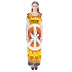 Peace Art Artwork Love Dove Short Sleeve Maxi Dress