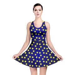 Star Christmas Yellow Reversible Skater Dress