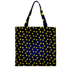 Star Christmas Yellow Zipper Grocery Tote Bag