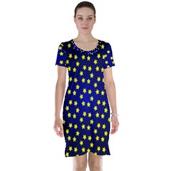 Star Christmas Yellow Short Sleeve Nightdress