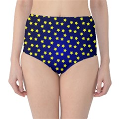 Star Christmas Yellow High-Waist Bikini Bottoms
