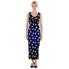Star Christmas Yellow Fitted Maxi Dress