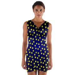Star Christmas Yellow Wrap Front Bodycon Dress