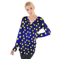 Star Christmas Yellow Women s Tie Up Tee
