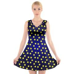 Star Christmas Yellow V-Neck Sleeveless Skater Dress