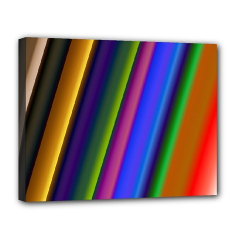 Strip Colorful Pipes Books Color Canvas 14  X 11