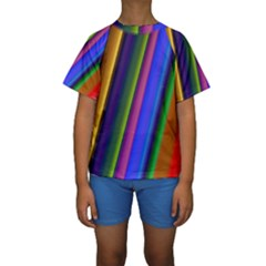 Strip Colorful Pipes Books Color Kids  Short Sleeve Swimwear