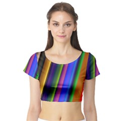 Strip Colorful Pipes Books Color Short Sleeve Crop Top (Tight Fit)