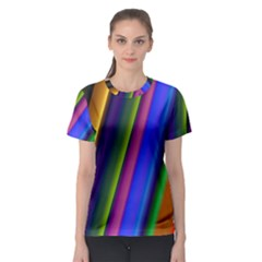 Strip Colorful Pipes Books Color Women s Sport Mesh Tee