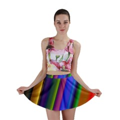 Strip Colorful Pipes Books Color Mini Skirt