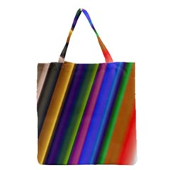 Strip Colorful Pipes Books Color Grocery Tote Bag